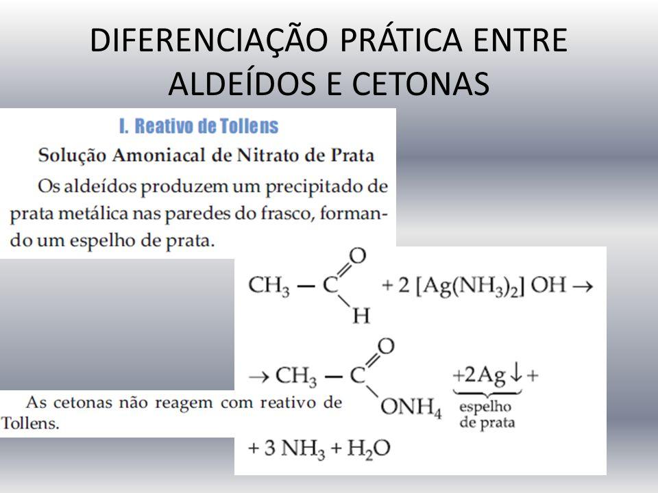 DIFERENCIAÇÃO PRÁTICA ENTRE ALDEÍDOS E CETONAS