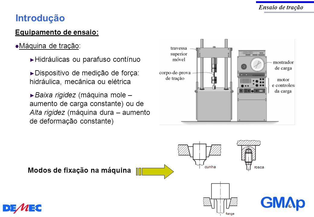 Introdução Equipamento de ensaio: Máquina de tração: