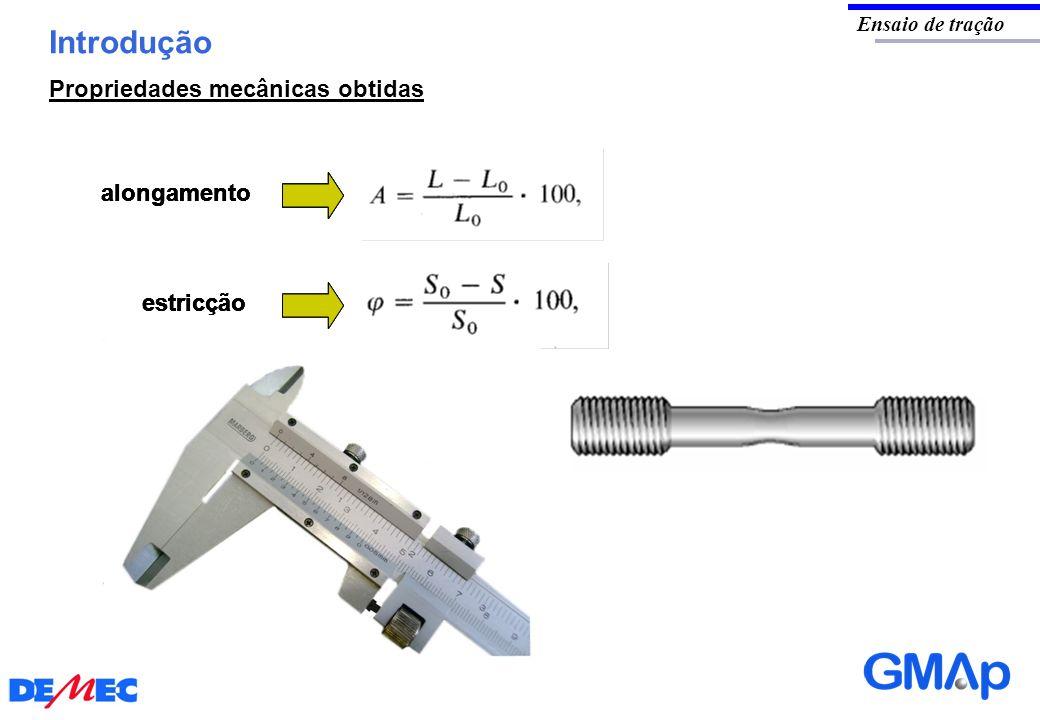 Introdução Propriedades mecânicas obtidas alongamento alongamento