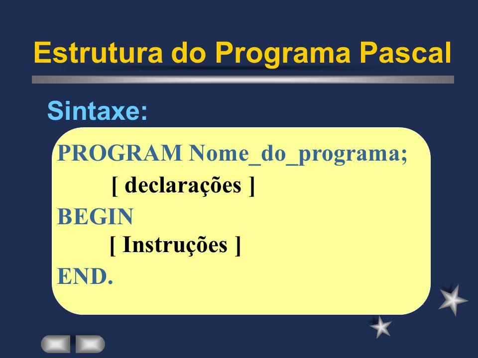 Estrutura do Programa Pascal