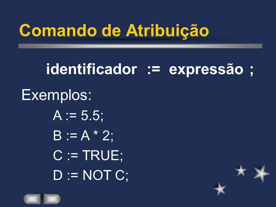 Comando de Atribuição identificador := expressão ; Exemplos: A := 5.5;