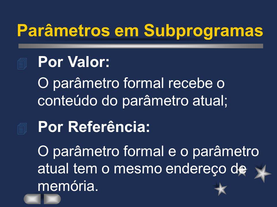 Parâmetros em Subprogramas