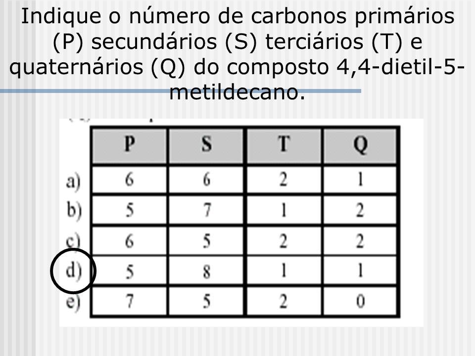Indique o número de carbonos primários (P) secundários (S) terciários (T) e quaternários (Q) do composto 4,4-dietil-5-metildecano.