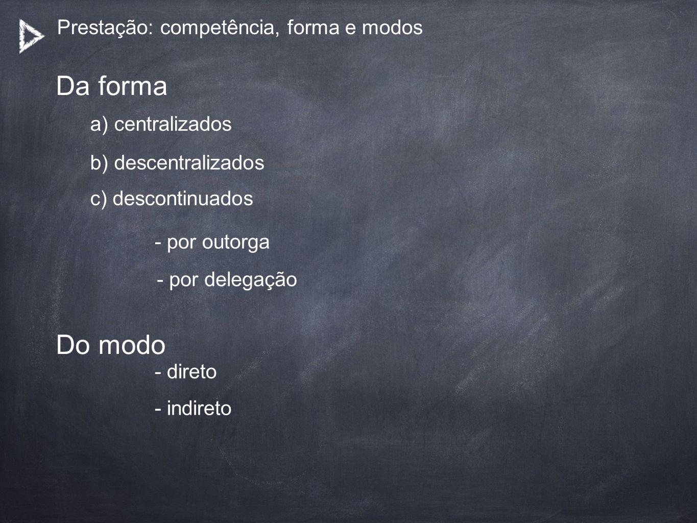 Prestação: competência, forma e modos