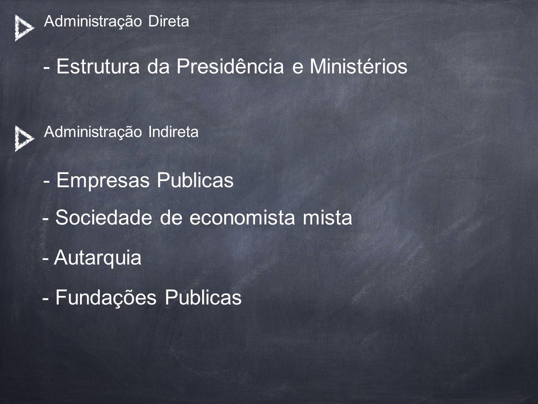 - Estrutura da Presidência e Ministérios