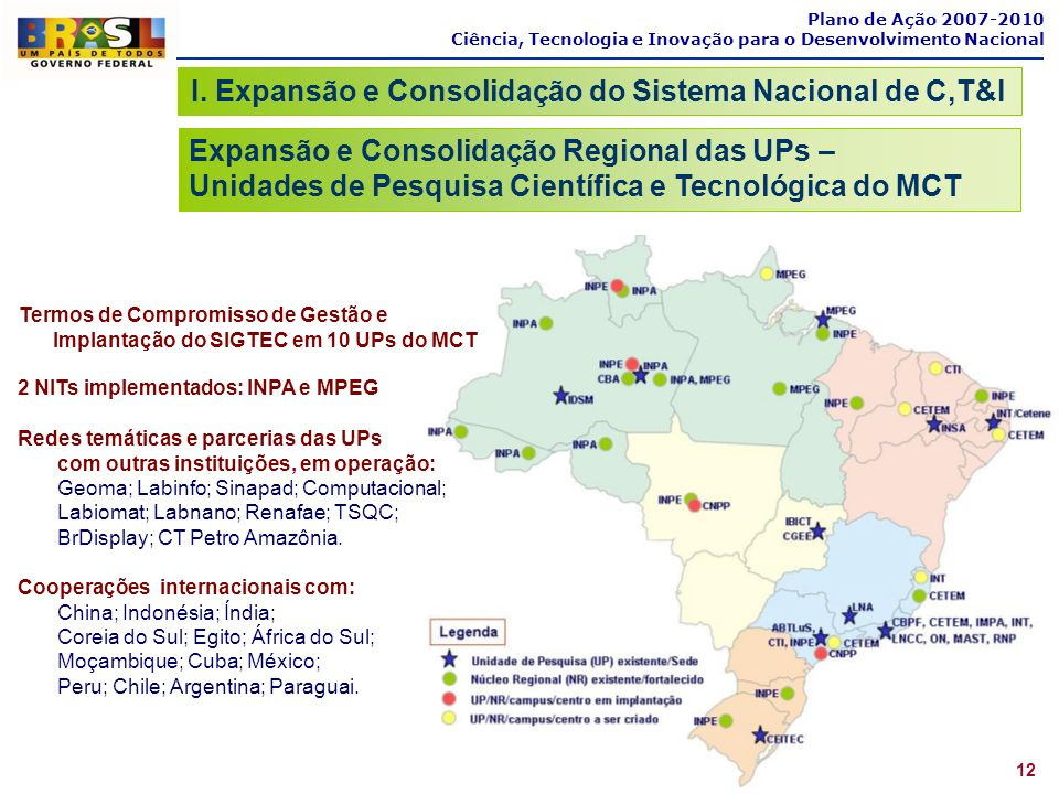 I. Expansão e Consolidação do Sistema Nacional de C,T&I