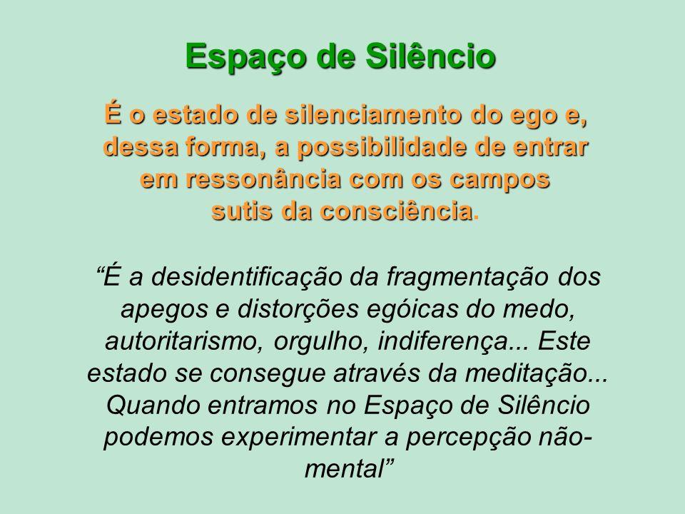 Espaço de Silêncio É o estado de silenciamento do ego e, dessa forma, a possibilidade de entrar em ressonância com os campos sutis da consciência.