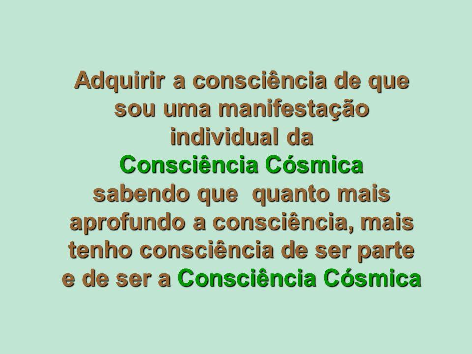 Adquirir a consciência de que sou uma manifestação individual da Consciência Cósmica sabendo que quanto mais aprofundo a consciência, mais tenho consciência de ser parte e de ser a Consciência Cósmica