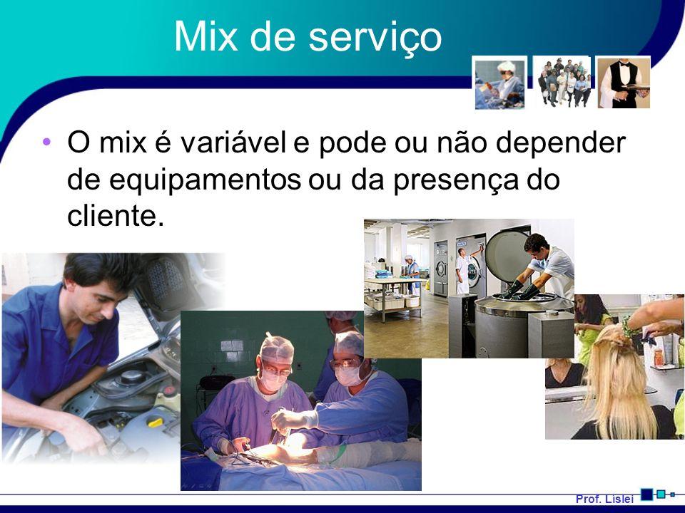 Mix de serviço O mix é variável e pode ou não depender de equipamentos ou da presença do cliente.