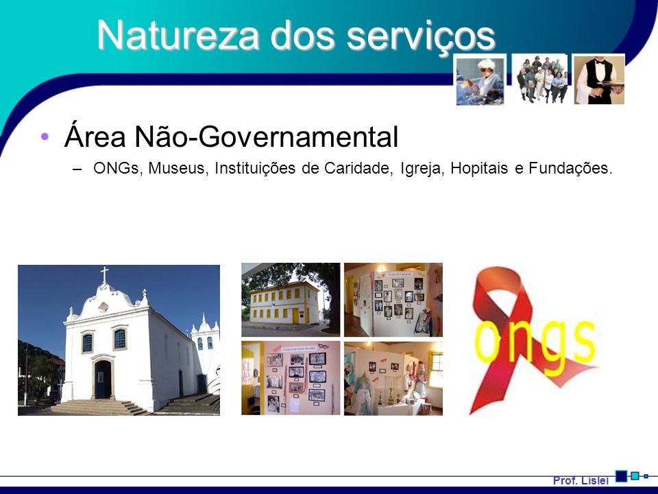 Natureza dos serviços Área Não-Governamental