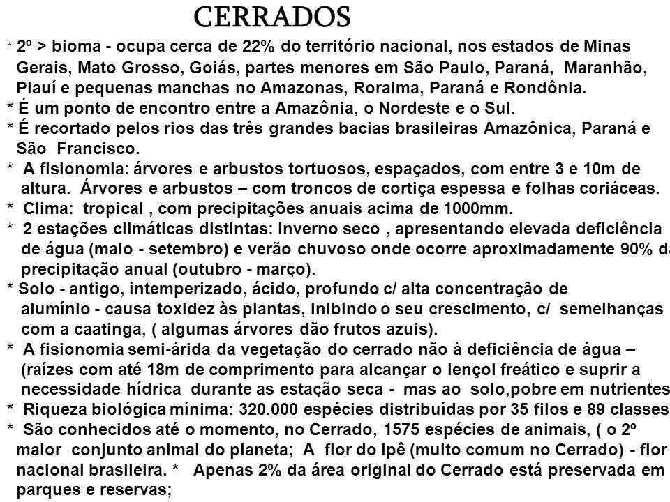 CERRADOS * 2º > bioma - ocupa cerca de 22% do território nacional, nos estados de Minas Gerais, Mato Grosso, Goiás, partes menores em São Paulo, Paraná, Maranhão, Piauí e pequenas manchas no Amazonas, Roraima, Paraná e Rondônia.