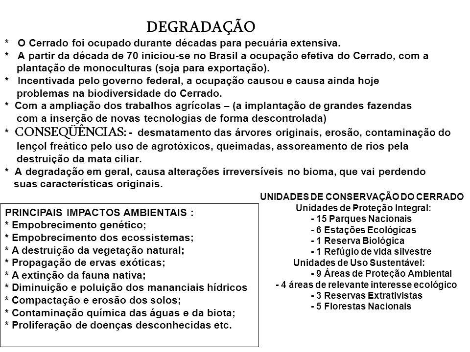 DEGRADAÇÃO * O Cerrado foi ocupado durante décadas para pecuária extensiva. * A partir da década de 70 iniciou-se no Brasil a ocupação efetiva do Cerrado, com a plantação de monoculturas (soja para exportação). * Incentivada pelo governo federal, a ocupação causou e causa ainda hoje problemas na biodiversidade do Cerrado. * Com a ampliação dos trabalhos agrícolas – (a implantação de grandes fazendas com a inserção de novas tecnologias de forma descontrolada) * CONSEQÜÊNCIAS: - desmatamento das árvores originais, erosão, contaminação do lençol freático pelo uso de agrotóxicos, queimadas, assoreamento de rios pela destruição da mata ciliar. * A degradação em geral, causa alterações irreversíveis no bioma, que vai perdendo suas características originais. UNIDADES DE CONSERVAÇÃO DO CERRADO Unidades de Proteção Integral: - 15 Parques Nacionais - 6 Estações Ecológicas - 1 Reserva Biológica - 1 Refúgio de vida silvestre Unidades de Uso Sustentável: - 9 Áreas de Proteção Ambiental - 4 áreas de relevante interesse ecológico - 3 Reservas Extrativistas - 5 Florestas Nacionais