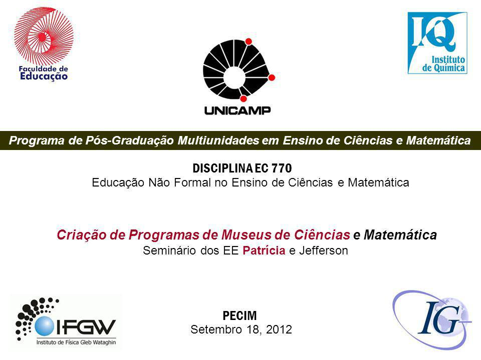 Criação de Programas de Museus de Ciências e Matemática