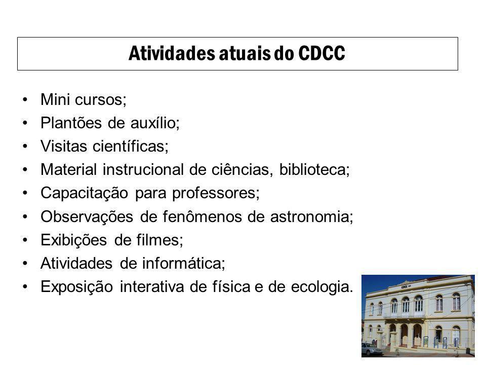Atividades atuais do CDCC