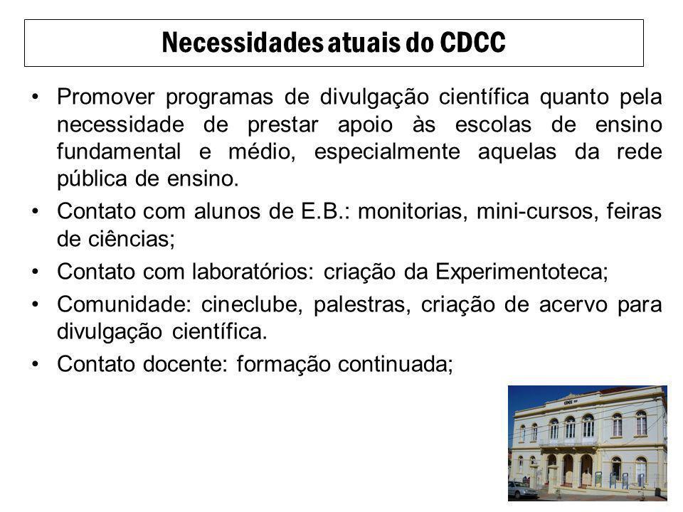 Necessidades atuais do CDCC
