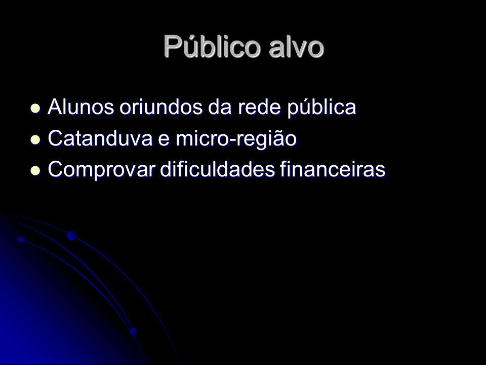Público alvo Alunos oriundos da rede pública Catanduva e micro-região