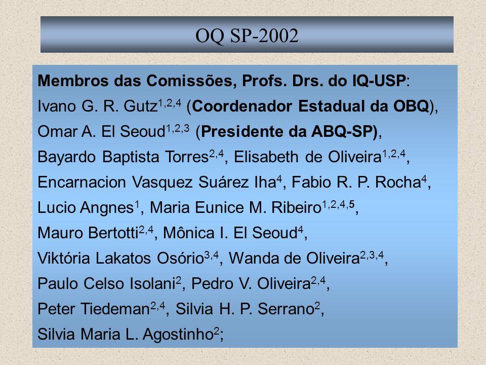 OQ SP-2002 Membros das Comissões, Profs. Drs. do IQ-USP: