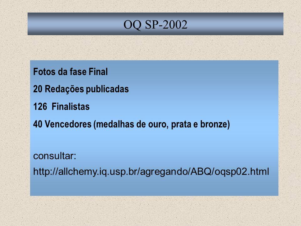 OQ SP-2002 Fotos da fase Final 20 Redações publicadas 126 Finalistas