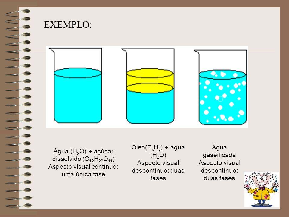 EXEMPLO: Água (H2O) + açúcar dissolvido (C12H22O11)