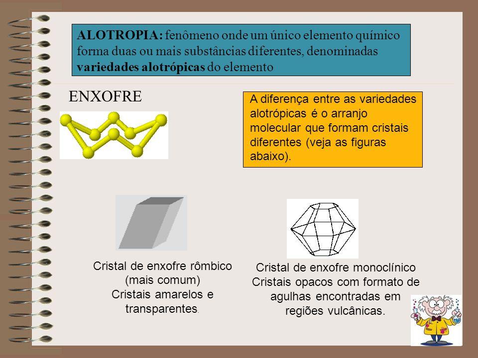 ALOTROPIA: fenômeno onde um único elemento químico forma duas ou mais substâncias diferentes, denominadas variedades alotrópicas do elemento