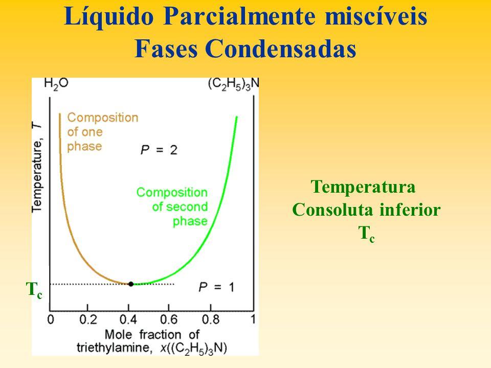 Líquido Parcialmente miscíveis Fases Condensadas