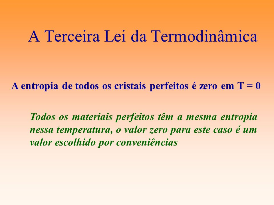 A Terceira Lei da Termodinâmica