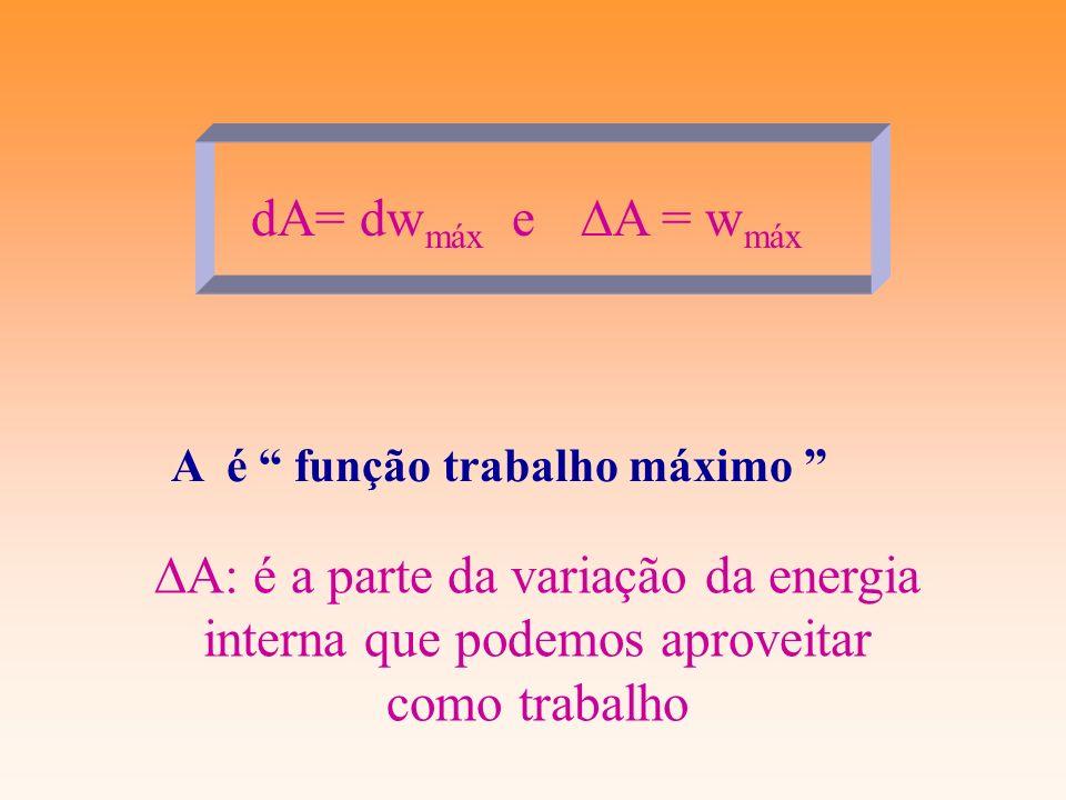 dA= dwmáx e DA = wmáxA é função trabalho máximo DA: é a parte da variação da energia interna que podemos aproveitar como trabalho.