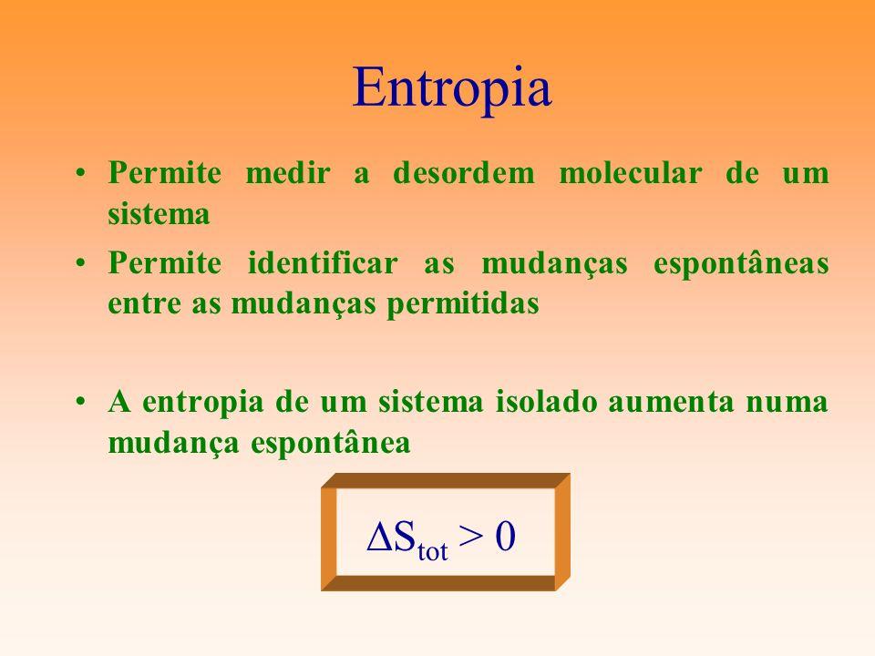 Entropia DStot > 0 Permite medir a desordem molecular de um sistema