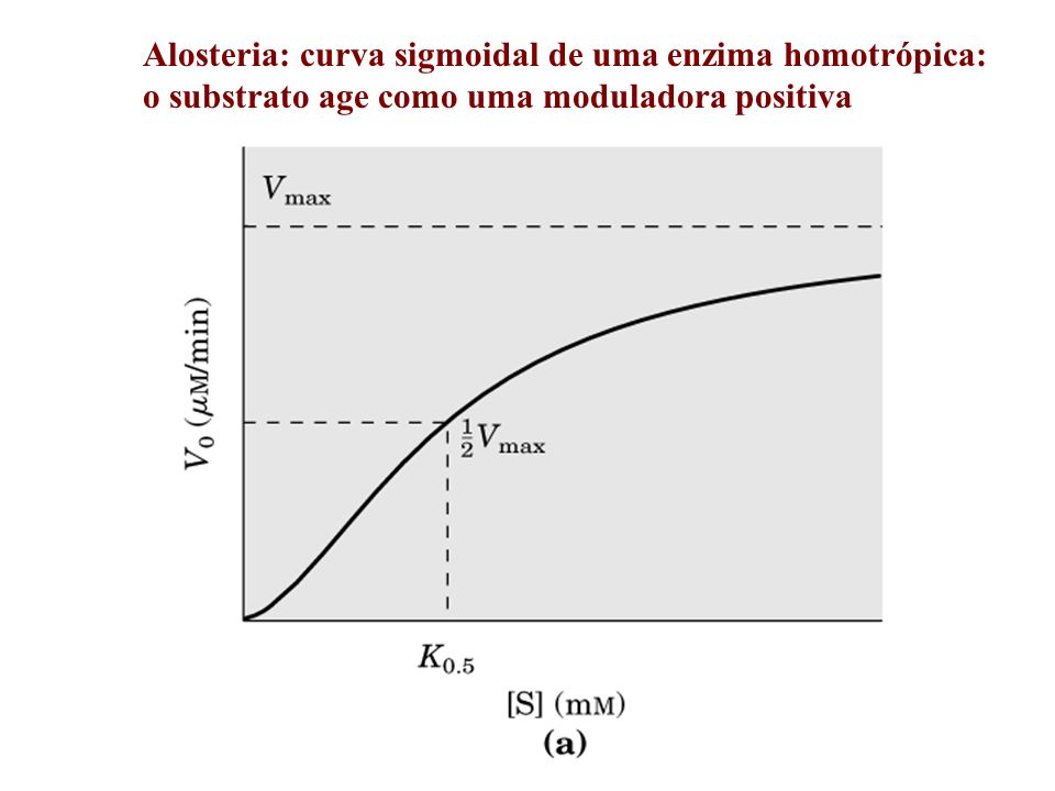 Alosteria: curva sigmoidal de uma enzima homotrópica:
