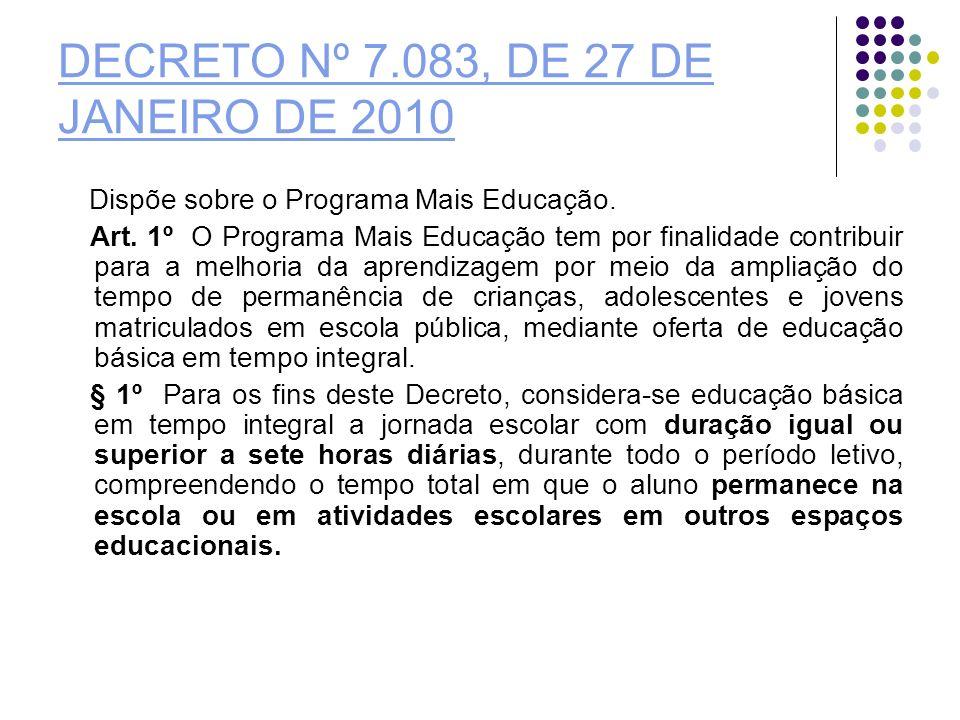DECRETO Nº 7.083, DE 27 DE JANEIRO DE 2010
