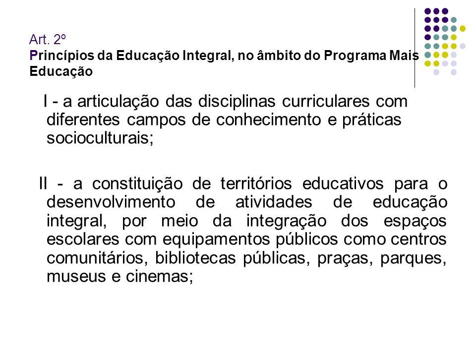 Art. 2º Princípios da Educação Integral, no âmbito do Programa Mais Educação