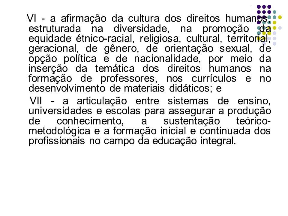 VI - a afirmação da cultura dos direitos humanos, estruturada na diversidade, na promoção da equidade étnico-racial, religiosa, cultural, territorial, geracional, de gênero, de orientação sexual, de opção política e de nacionalidade, por meio da inserção da temática dos direitos humanos na formação de professores, nos currículos e no desenvolvimento de materiais didáticos; e