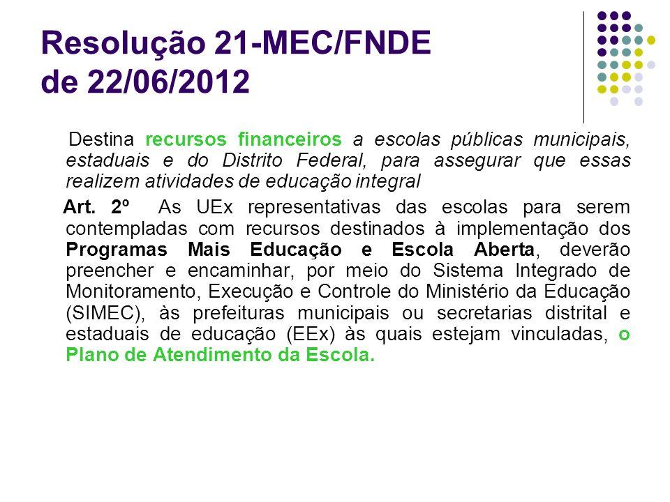 Resolução 21-MEC/FNDE de 22/06/2012