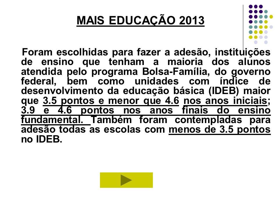 MAIS EDUCAÇÃO 2013