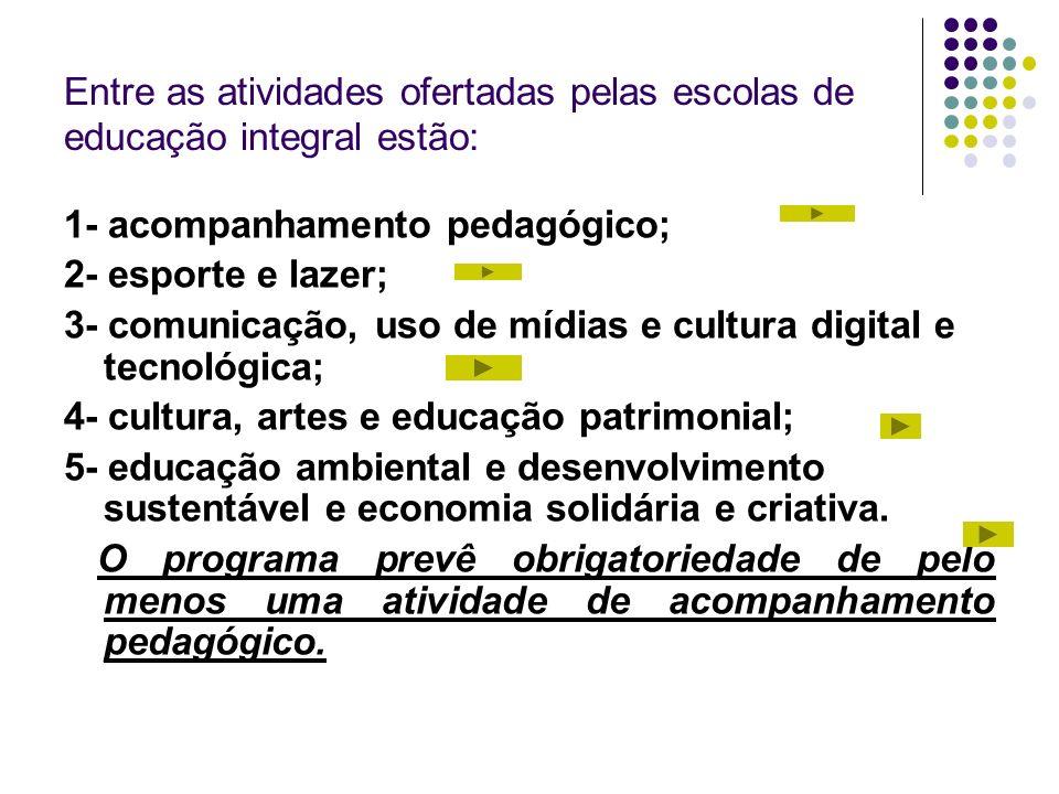 Entre as atividades ofertadas pelas escolas de educação integral estão: