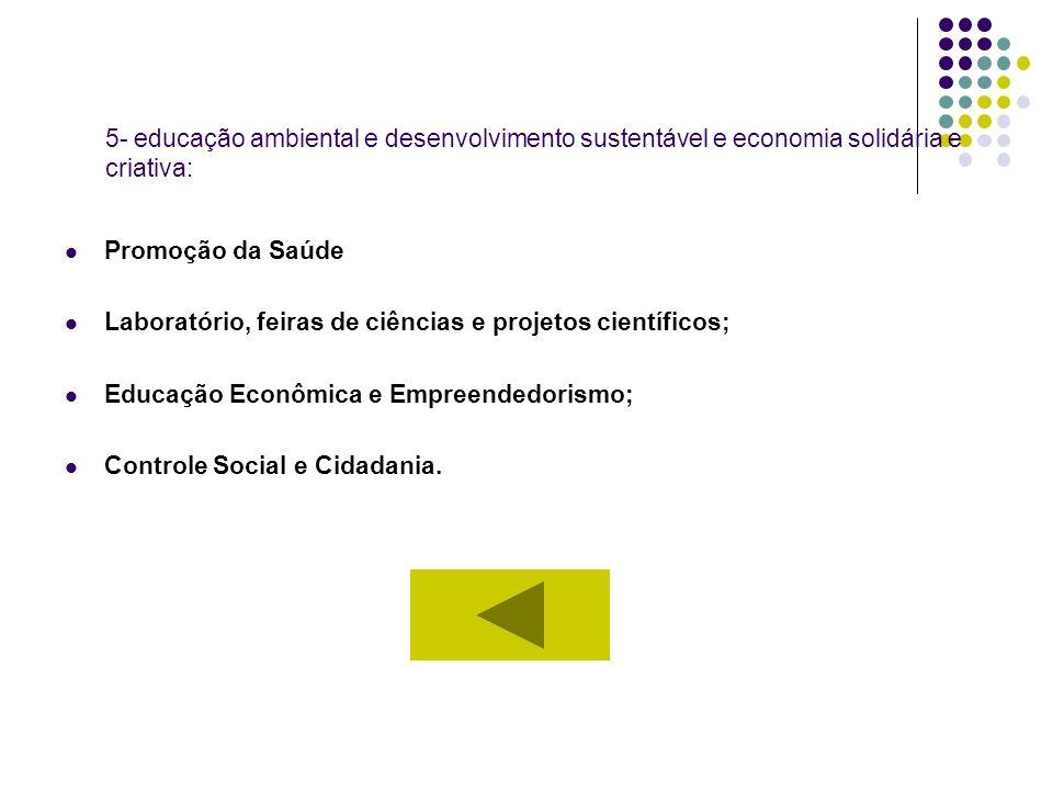 5- educação ambiental e desenvolvimento sustentável e economia solidária e criativa: