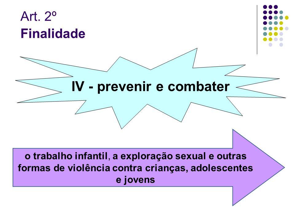 IV - prevenir e combater
