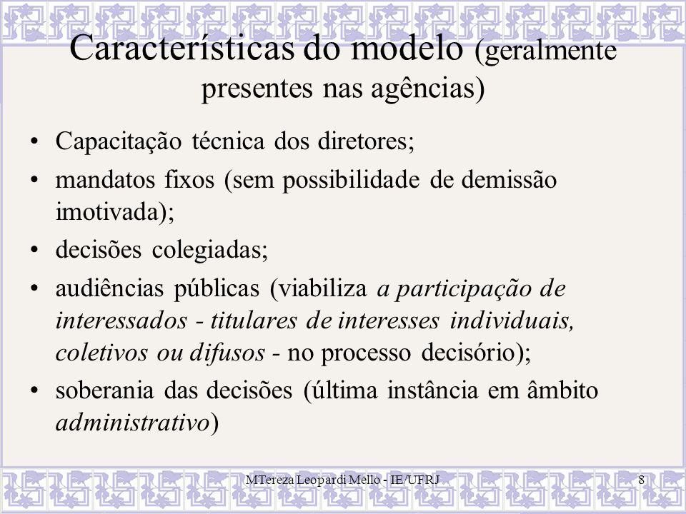 Características do modelo (geralmente presentes nas agências)