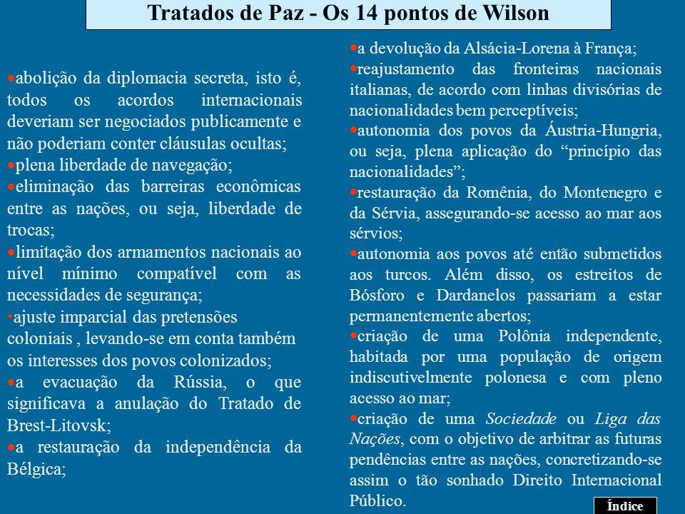 Tratados de Paz - Os 14 pontos de Wilson