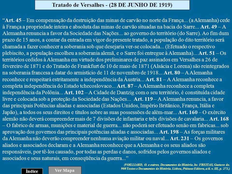 Tratado de Versalhes - (28 DE JUNHO DE 1919)