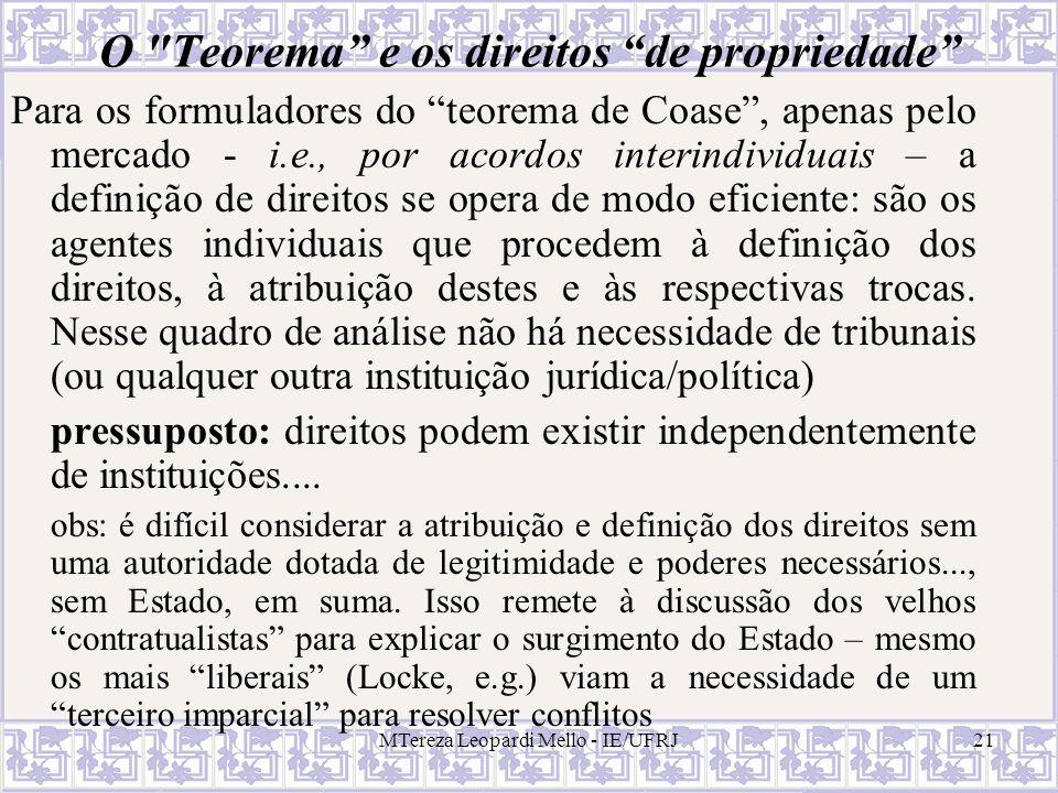 O Teorema e os direitos de propriedade