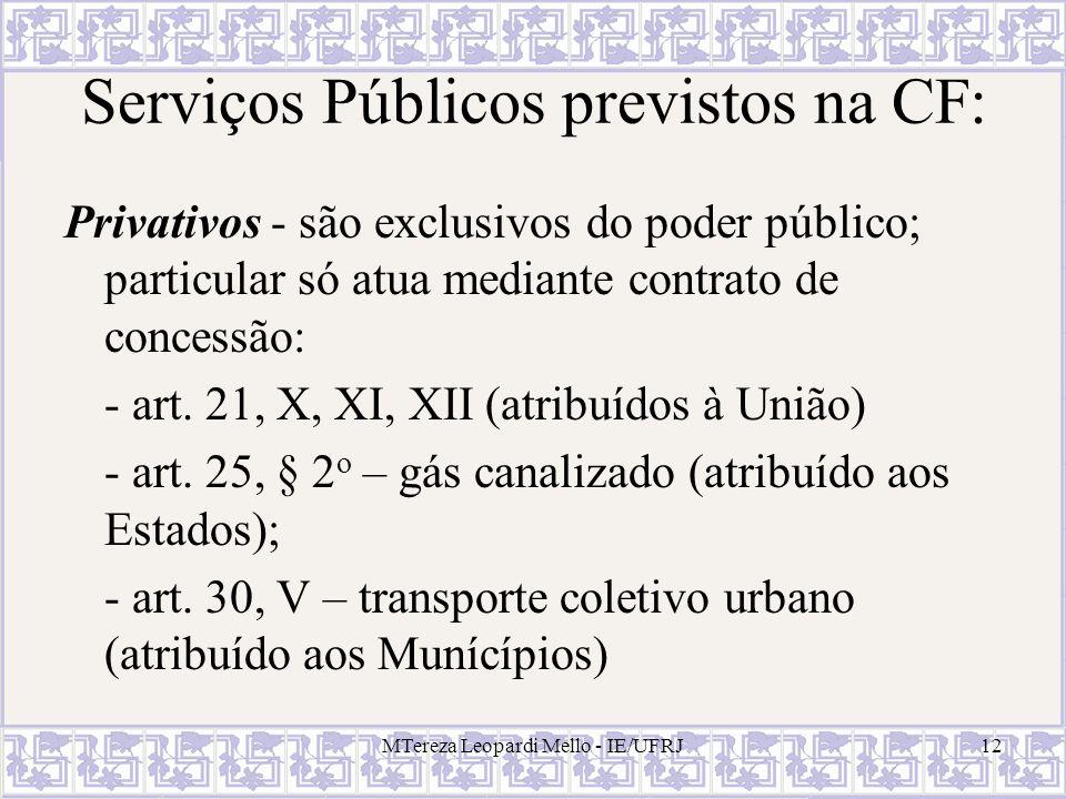 Serviços Públicos previstos na CF: