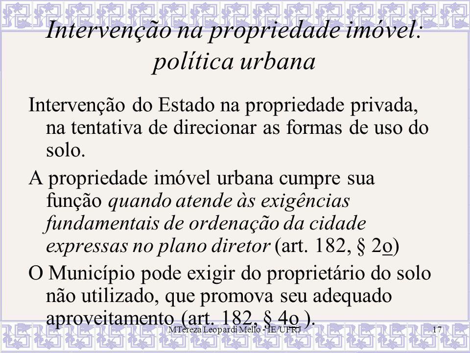 Intervenção na propriedade imóvel: política urbana