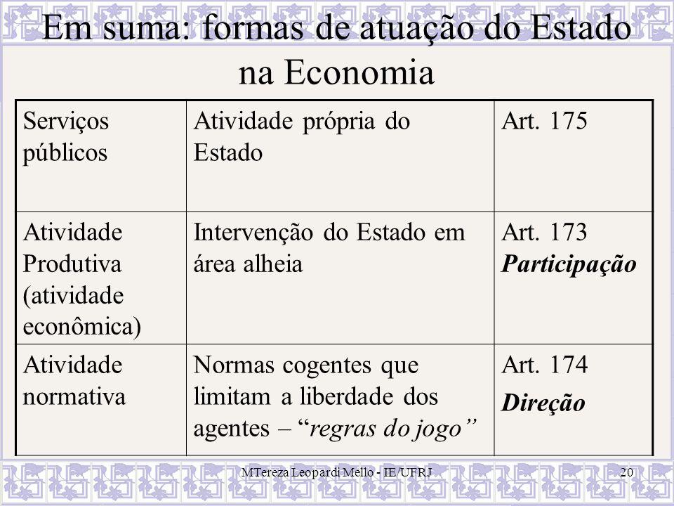 Em suma: formas de atuação do Estado na Economia