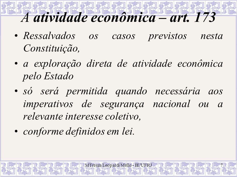 A atividade econômica – art. 173