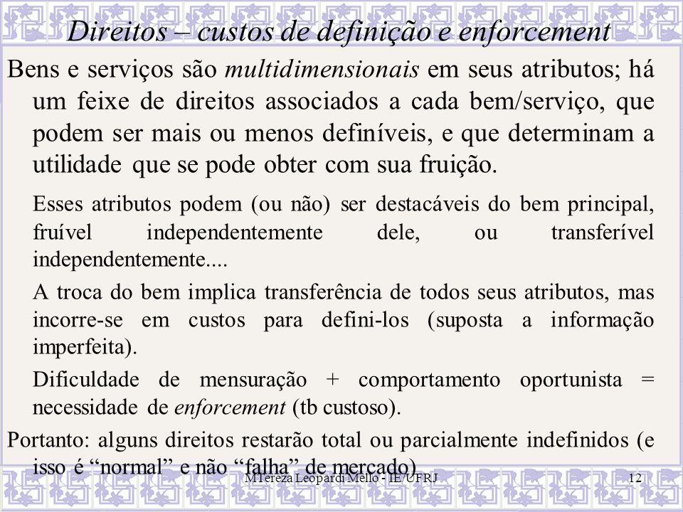 Direitos – custos de definição e enforcement