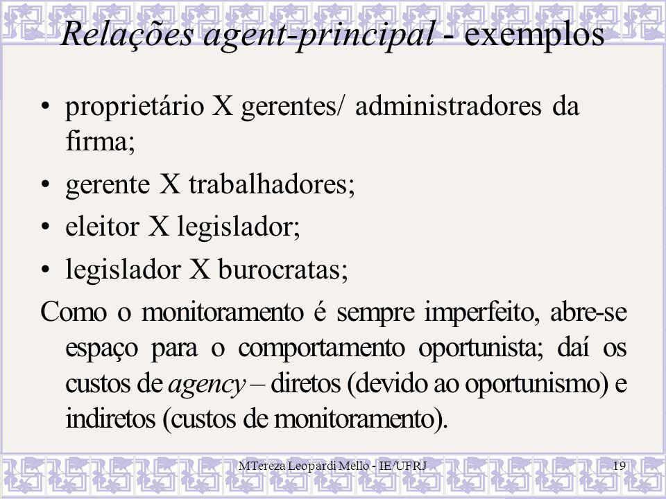 Relações agent-principal - exemplos