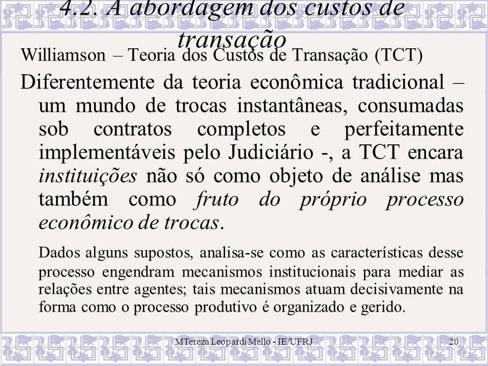 4.2. A abordagem dos custos de transação