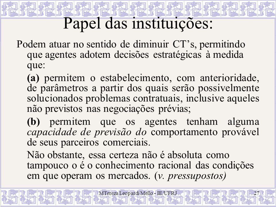 Papel das instituições: