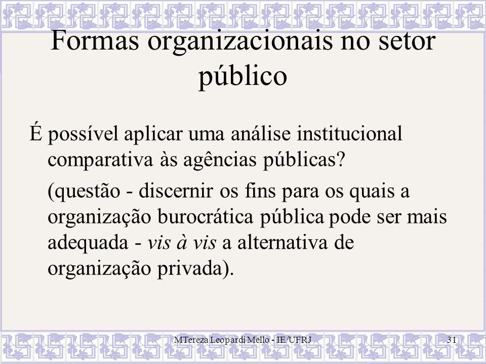 Formas organizacionais no setor público